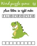 Words puzzle game with crocodile. Place the letters in right order. Learning vocabulary. Educational game for children. Words puzzle game with crocodile. Place Stock Photos