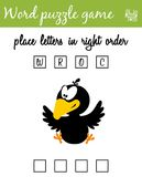 Words puzzle game with crow. Place the letters in right order. Learning vocabulary. Educational game for children. Words puzzle game with crow. Place the letters Stock Photo