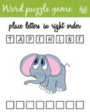 Words puzzle game with elephant. Place the letters in right order. Learning vocabulary. Educational game for children. Words puzzle game with elephant. Place the Stock Image