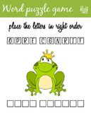 Words puzzle game with frog prince. Place the letters in right order. Learning vocabulary. Educational game for children. Words puzzle game with frog prince Stock Image