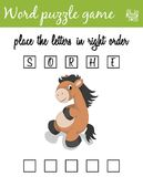 Words puzzle game with horse. Place the letters in right order. Learning vocabulary. Educational game for children. Words puzzle game with horse. Place the Royalty Free Stock Image