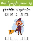 Words puzzle game with witch. Place the letters in right order. Learning vocabulary. Educational game for children. Words puzzle game with witch. Place the Stock Images