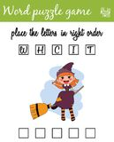 Words puzzle game with witch. Place the letters in right order. Learning vocabulary. Educational game for children. Words puzzle game with witch. Place the Stock Photography