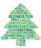 Words related to Christmas and celebration. Conceptual tag cloud of words related to Christmas and celebration in the shape of a Christmas tree Stock Image