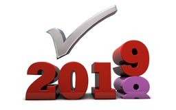 2019 New Year Resolutions and Checklist. The words 2018 2019 rendered in 3D with a checkmark - perfect for toplist and best of the year posts royalty free illustration