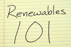 Renewables 101 On A Yellow Legal Pad Royalty Free Stock Photos