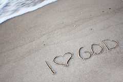 The words  in the sand Stock Image
