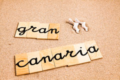 Words on sand gran canaria Royalty Free Stock Photo