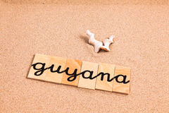 Words on sand guyana Royalty Free Stock Image