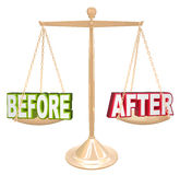 Before and After Words Scale New Results Time Comparison Royalty Free Stock Photo