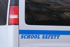 School Safety. The words School Safety, written in blue on a white van royalty free stock images