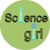 The words Science girl. With flask as part of the phrase. Vector illustration in flat style Royalty Free Stock Photography
