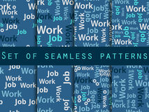 Words seamless pattern, word collage, words design. Seamless pattern with words. Association with the work search. Vector Stock Photo