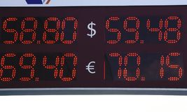 With the words sell buy on the financial schedules . Selective ficus Euro, dollar.  Stock Photo