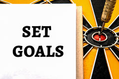 Words set goals with dart target Stock Images