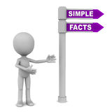 Simple facts. Words simple facts over a road sign with little 3d man showing the way, white background royalty free illustration