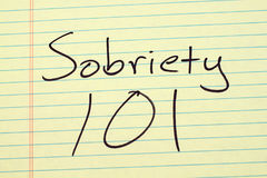 Sobriety 101 On A Yellow Legal Pad Stock Image
