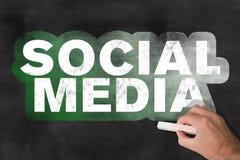 Words SOCIAL MEDIA on blackboard royalty free stock photo