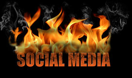 Word Social Media in Flames Stock Image