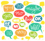 Words in speech bubbles Stock Images