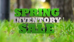 Spring Inventory Sale - Marketing and Advertising. The words Spring Inventory Sale rendered in 3D over a green grass background