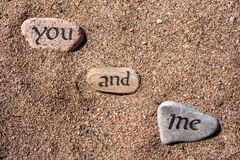 Words on the stones. Words written on the stones Royalty Free Stock Images
