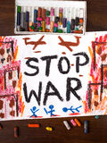 Words stop war. Colorful drawing with the words stop war Royalty Free Stock Photos