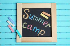 Words SUMMER CAMP written with colorful chalk royalty free stock images