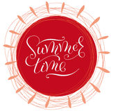 Words Summer time round red sticker  Royalty Free Stock Images