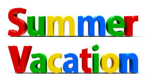 Words Summer and Vacation Stock Image