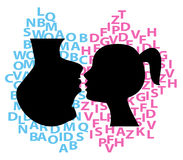 Words. Symbolic illustration of discussion between couple Royalty Free Stock Photos