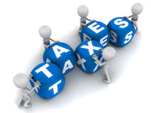 Taxes. Words taxes on white background being put together by little 3d men. year end and tax filing concept Stock Images
