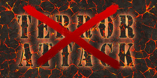 Words terror attack written and crossed by red paint on danger red lava. Stock Photos