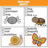 Words test educational game for children. Animals, insects theme Stock Photo