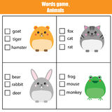 Words test educational game for children. Animals theme Royalty Free Stock Image