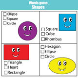 Words test educational game for children. Learning shapes. Words test educational game for children. Learning geometric shapes. Choose the correct answer task Royalty Free Stock Image