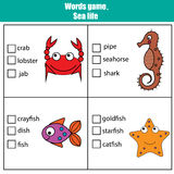 Words test educational game for children. Sea animals theme Royalty Free Stock Images
