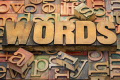 Words text in wood type. Against background of letterpress printing blocks Stock Photo