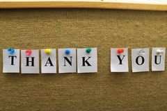 The words thank you pinned. stock images