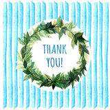 Words Thank you in simple and cute floral circle wreath with spring branches  leaves. Watercolor drawing. Element design for poste Stock Photography