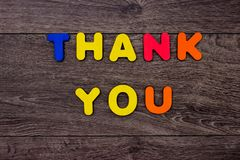 Words Thank you from wooden letters Stock Photography