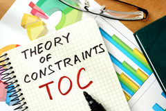 Free Words Theory Of Constraints TOC On The Notepad And Charts. Stock Images - 57604134