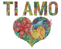 Words TI AMO with heart. I love you in Italian. Vector decorative zentangle object stock illustration
