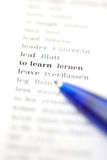 The words to learn on paper. The words to learn printed on paper (selective focus Stock Photography