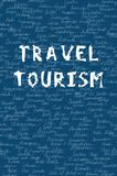 Words travel and tourism on the seamless pattern. White colour letters and background name of 195 counties on the world. Hand draw. N. Light blue font on blue Royalty Free Stock Photos