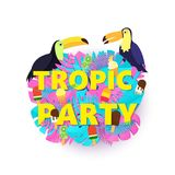 Words TROPIC PARTY composition with creative pink blue jungle leaves ice cream and birds on white background in paper. Cut style. Tropical toucans for poster Stock Photos