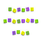 Words Venice Carnival 2015. With colorful blocks isolated on a white background. Description with bright cubes. Vector illustration EPS 10 Royalty Free Stock Images