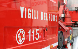 words VIGILI DEL FUOCO meaning firefighters on the Italian fire Stock Photo