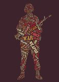 Words of war. Tagcloud: silhouette of soldier with machine gun of war words vector illustration