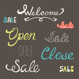 Words welcome sale open close Stock Photo